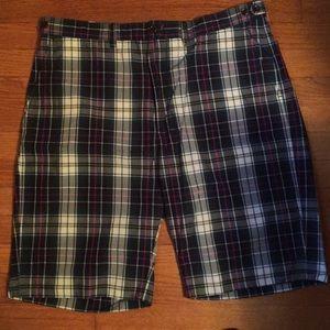 Ralph Lauren plaid, flat front shorts.
